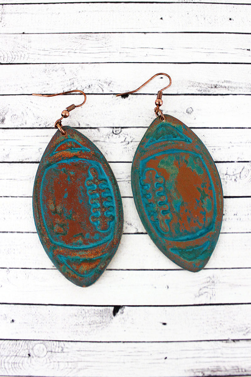 Blue Leather Football Earrings