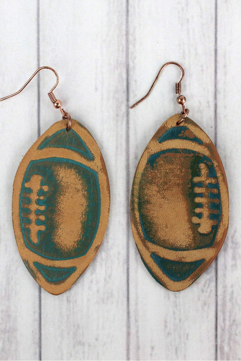 Turquoise Leather Football Earrings