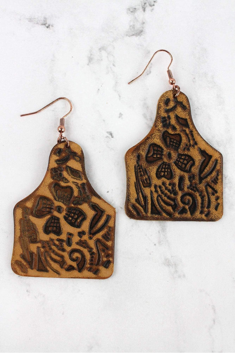 Brown Leather Cattle Tag Earrings