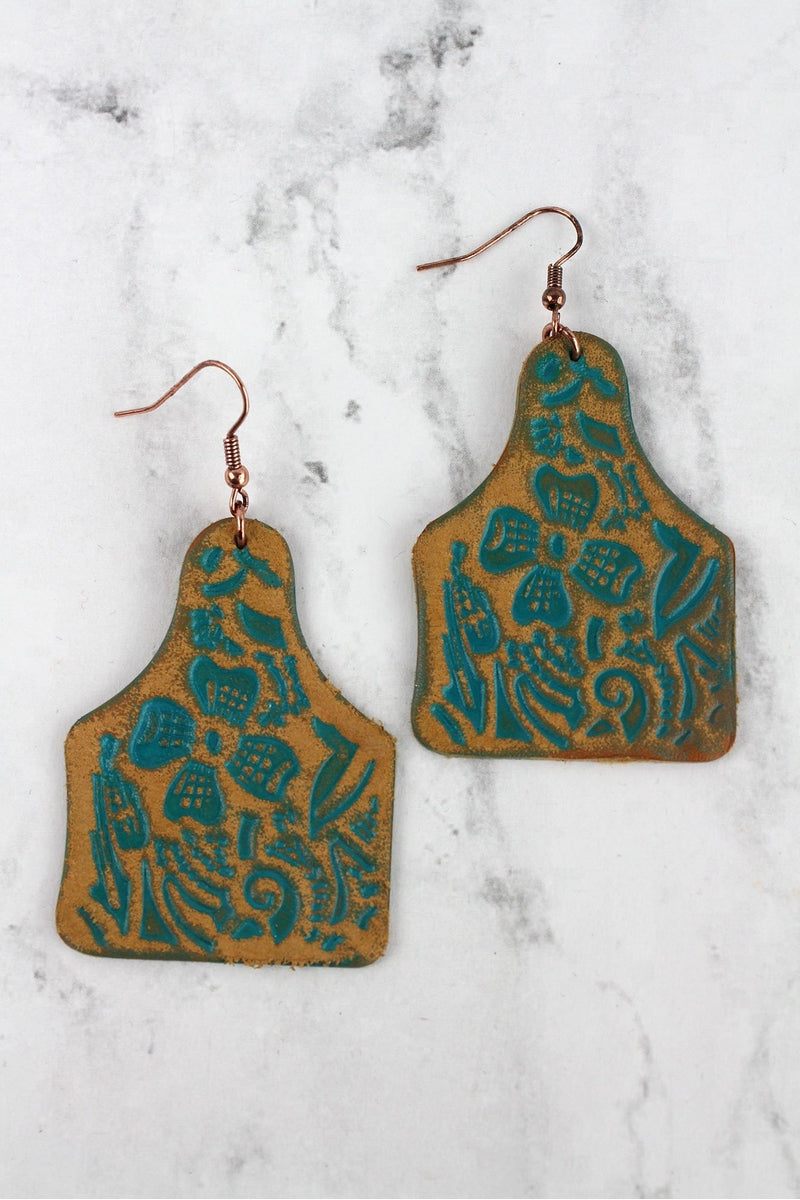 Turquoise Leather Cattle Tag Earrings
