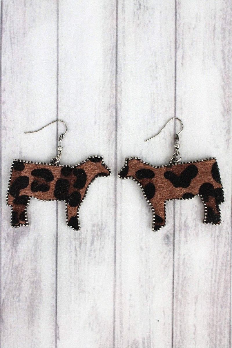 Large Dark Leopard Print Cow Earrings