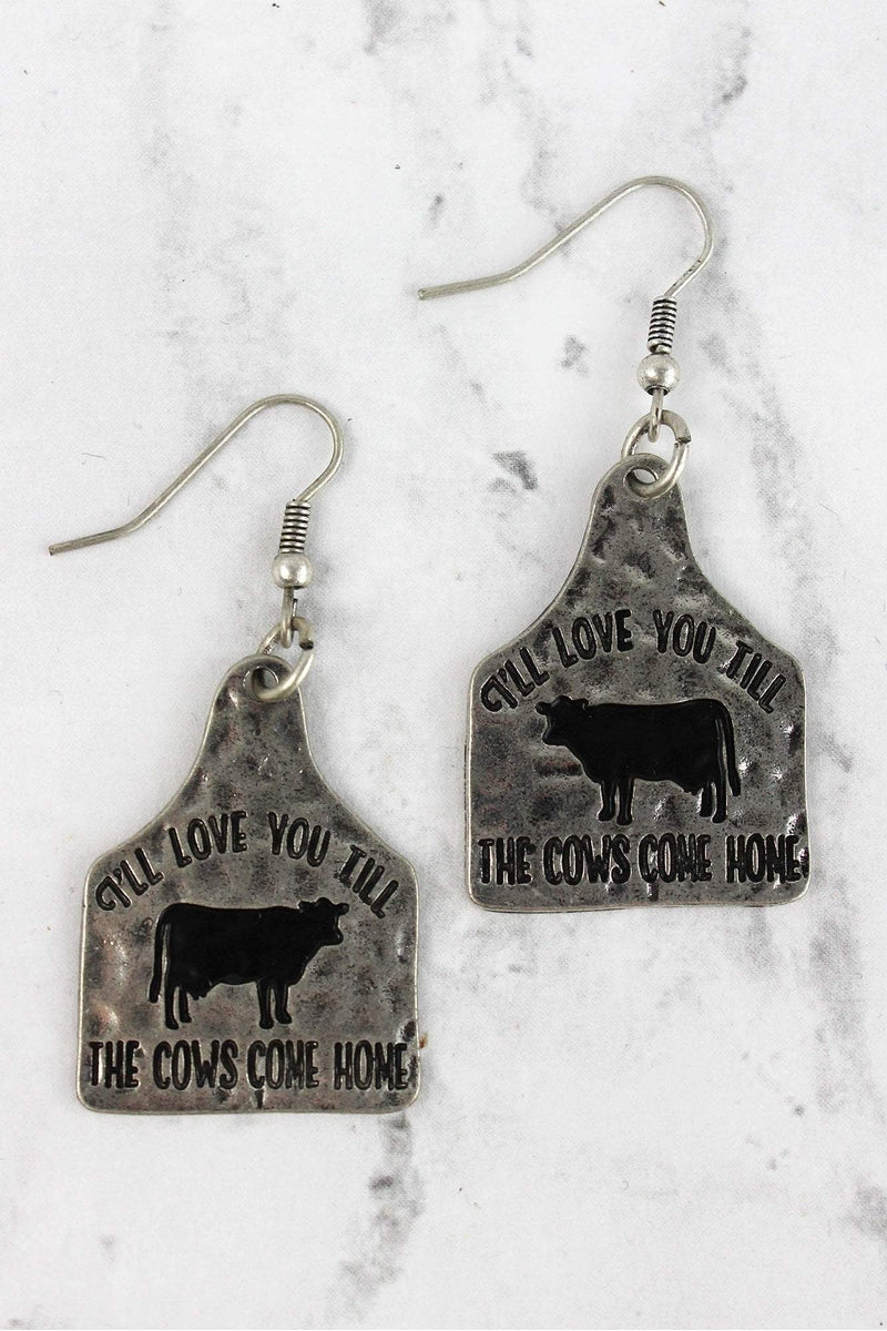 Burnished Silvertone 'Till The Cows Come Home' Earrings