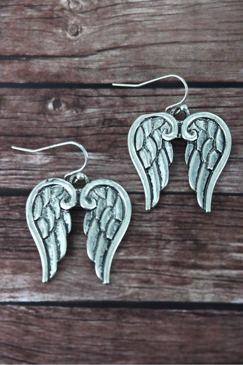 Burnished Silvertone Angel Wings Earrings