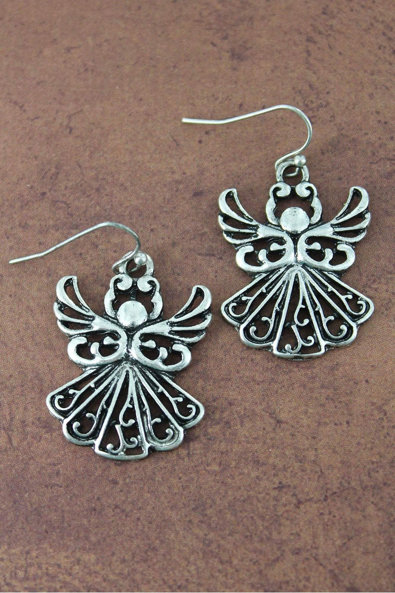 Burnished Silvertone Angel Earrings