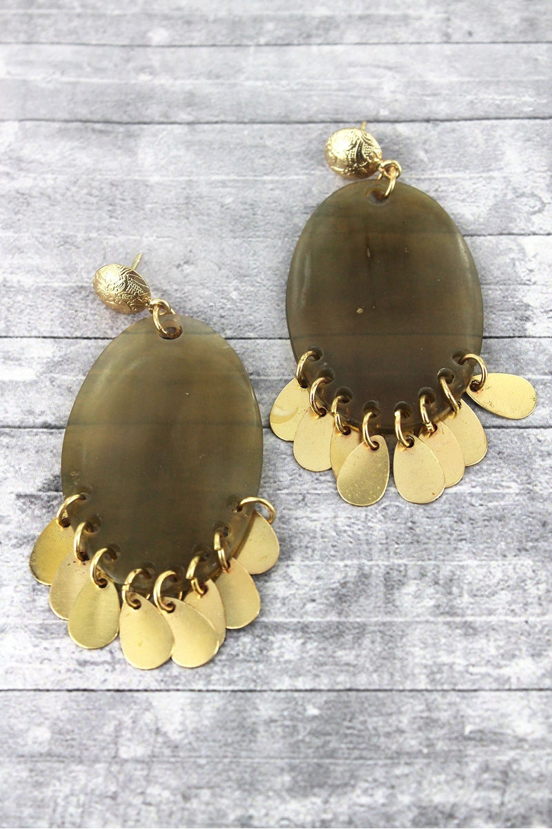 Natural Translucent and Goldtone Oval Fringe Earrings