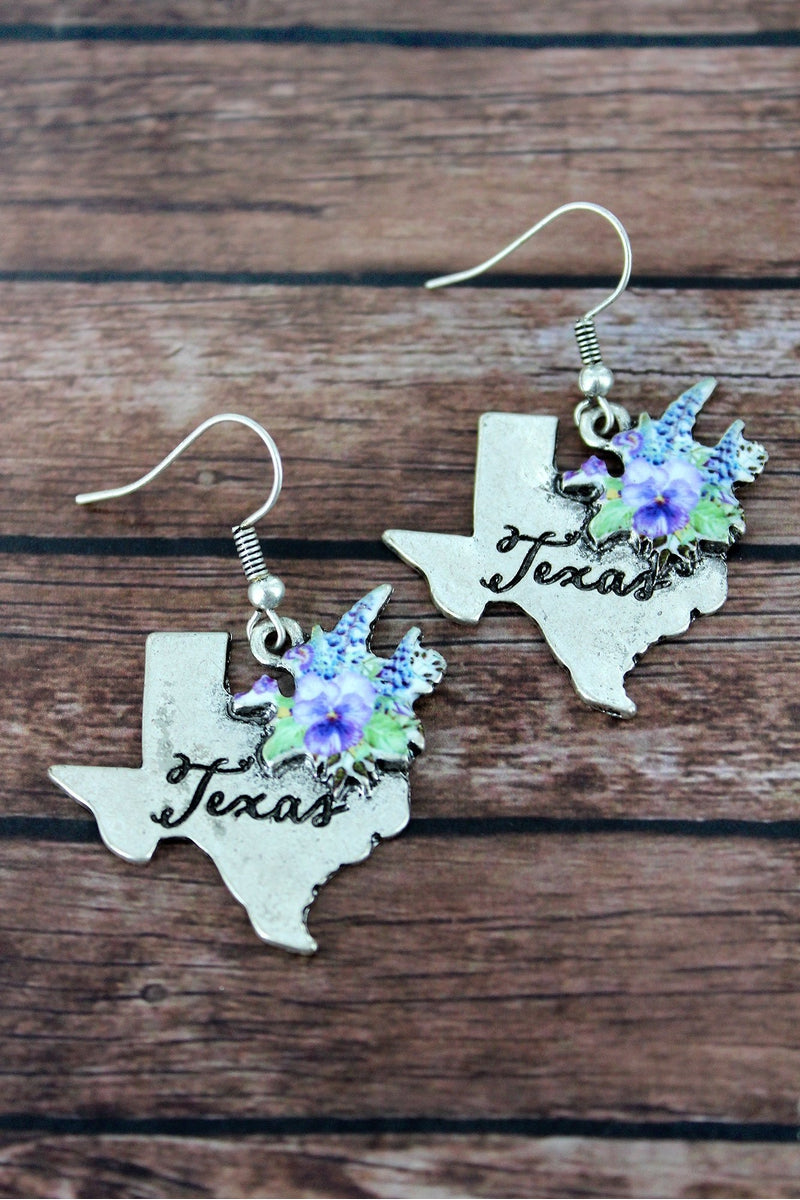 Blue Bonnet Bouquet Silvertone Texas Earrings