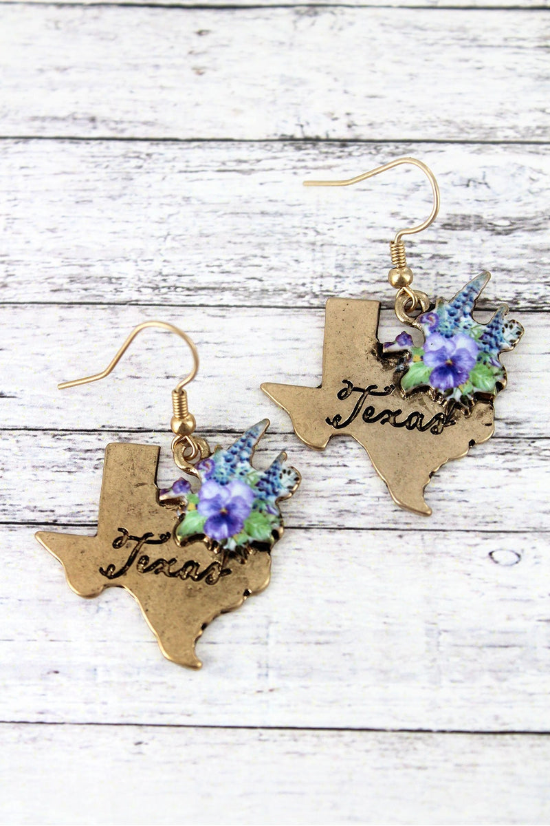 Blue Bonnet Bouquet Goldtone Texas Earrings