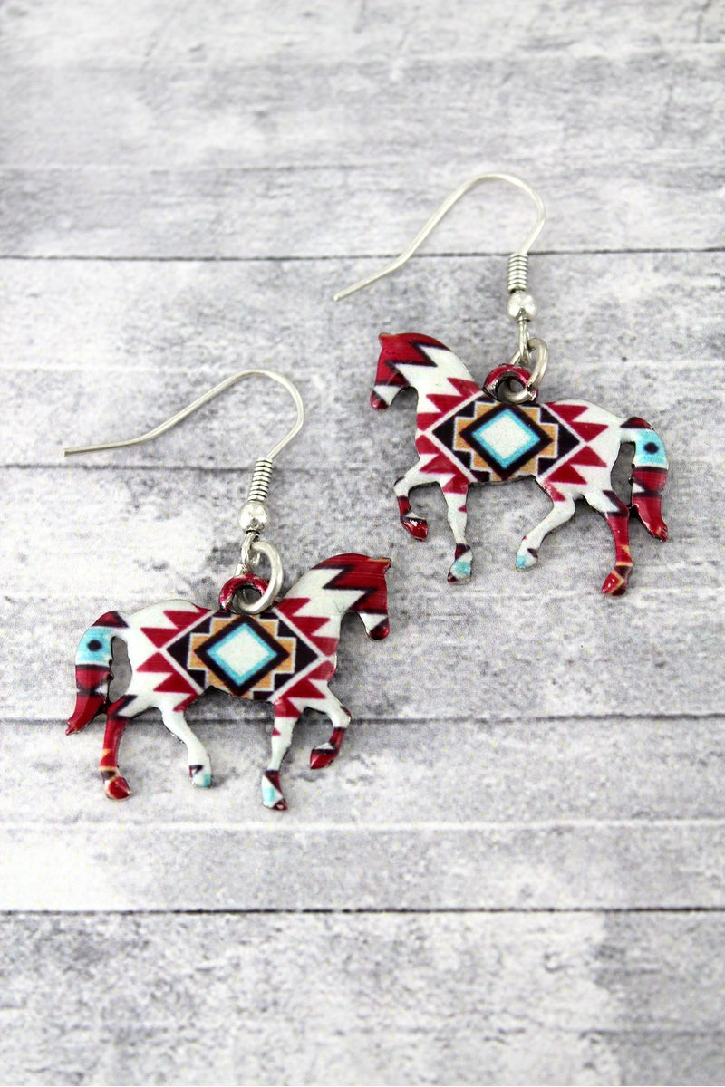 Mesa Sunrise Horse Silvertone Earrings