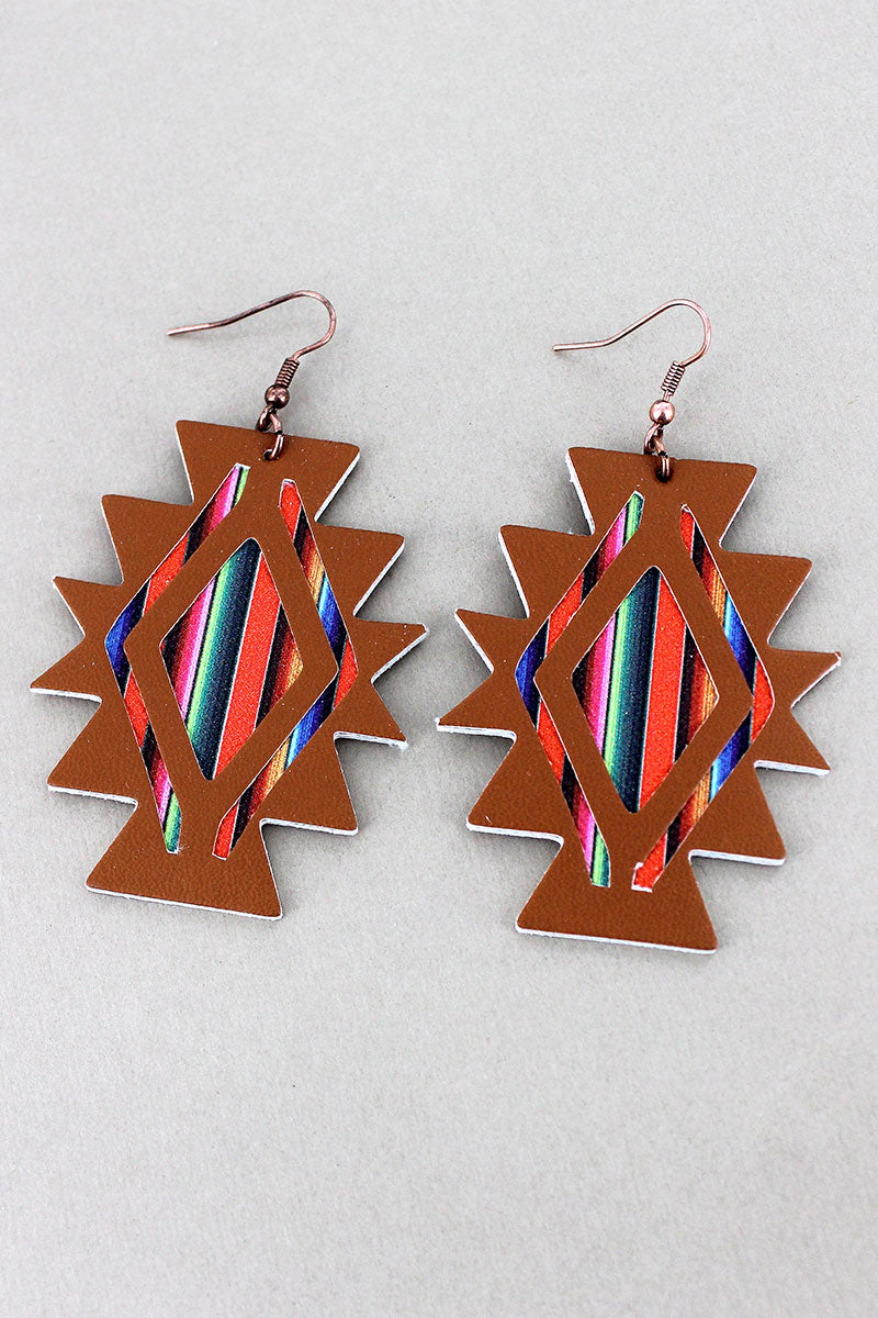 Serape and Brown Faux Leather New Mexico Diamond Earrings