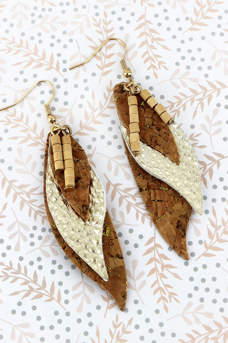 Wood Beaded Gold Glimmer Cork and Faux Leather Feather Earrings