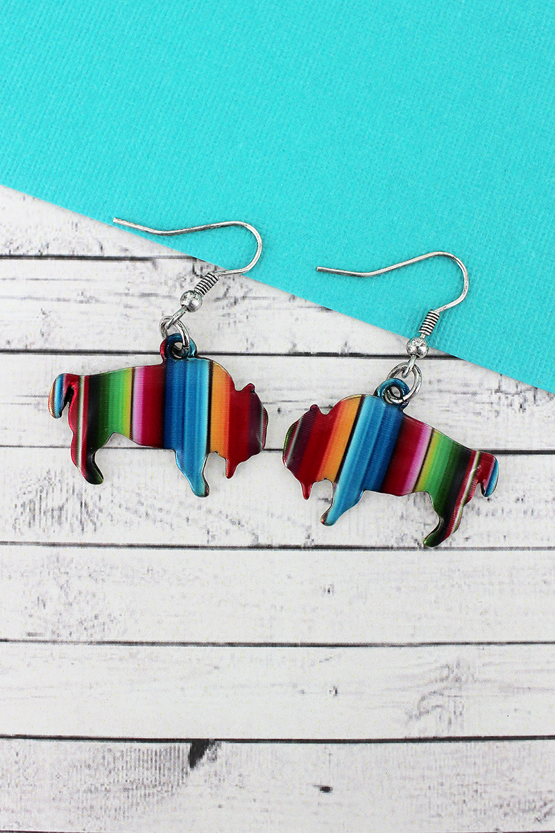 Serape Bison Silvertone Earrings
