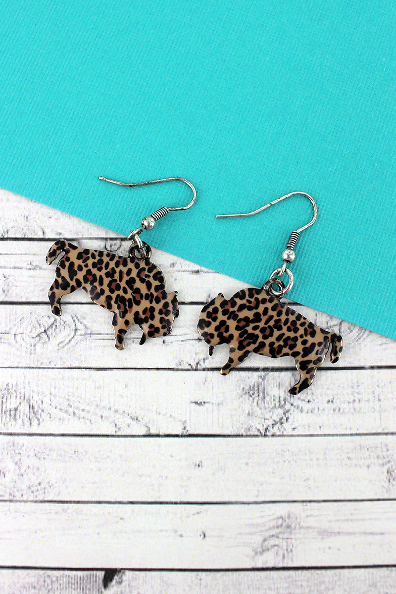 Leopard Bison Silvertone Earrings