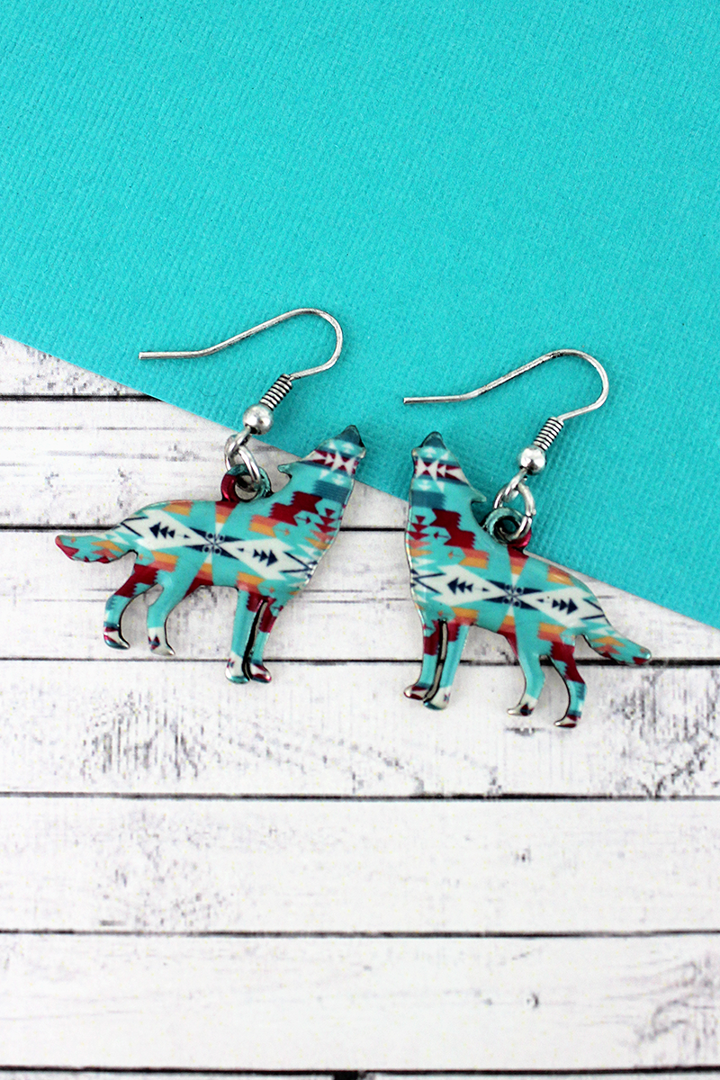 Desert Oasis Wolf Silvertone Earrings