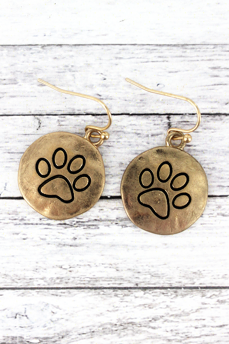 Worn Goldtone Paw Print Disk Earrings