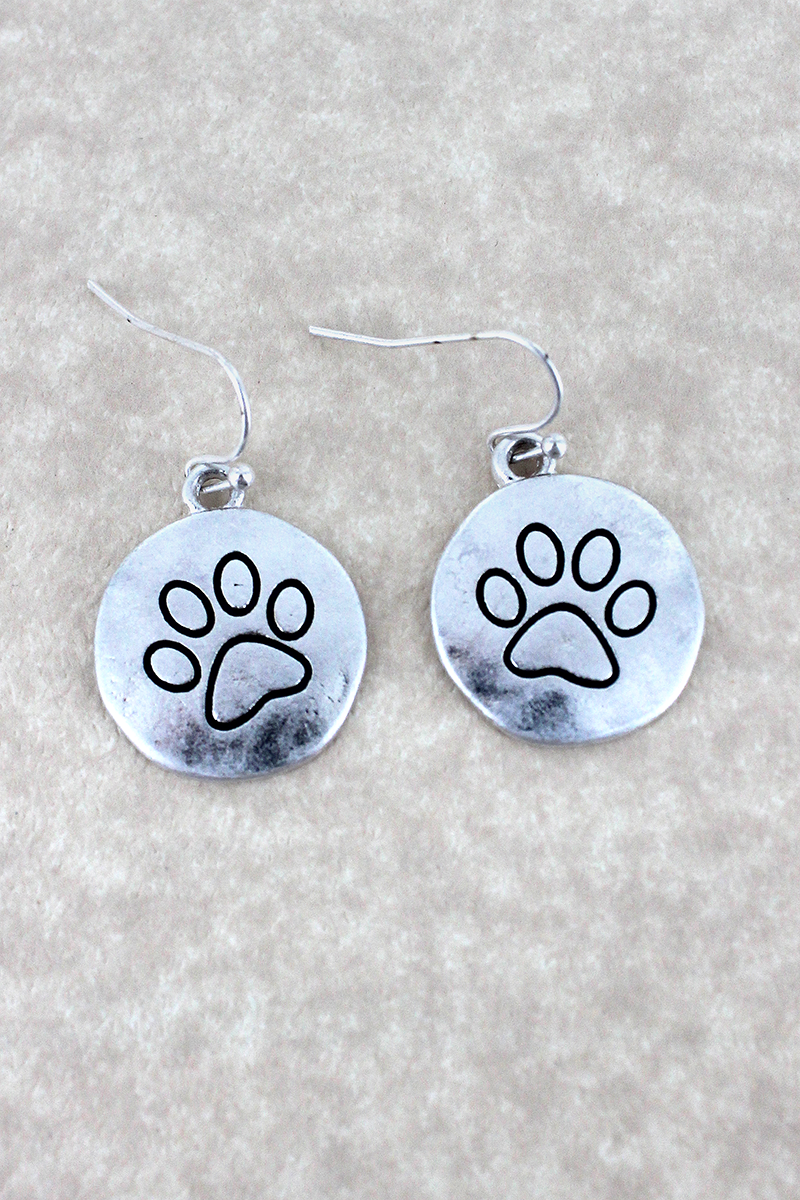 Worn Silvertone Paw Print Disk Earrings