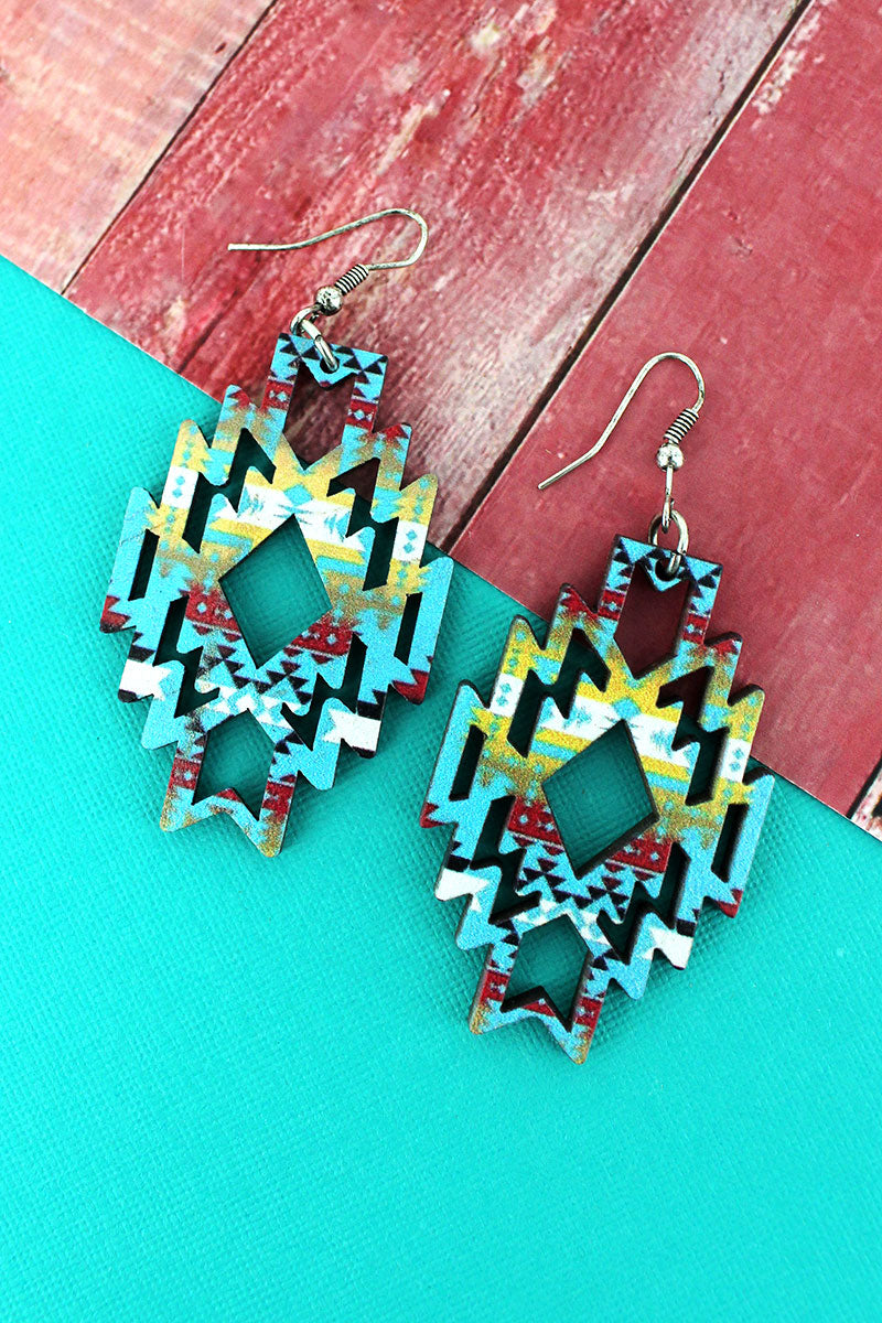 Sierra Sky Southwestern Diamond Wood Earrings