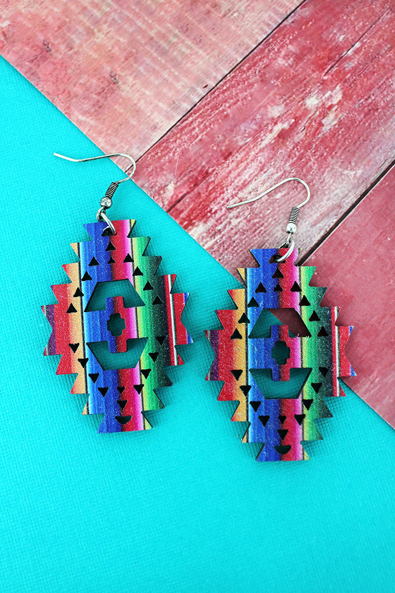 Serape Southwestern Diamond Wood Earrings