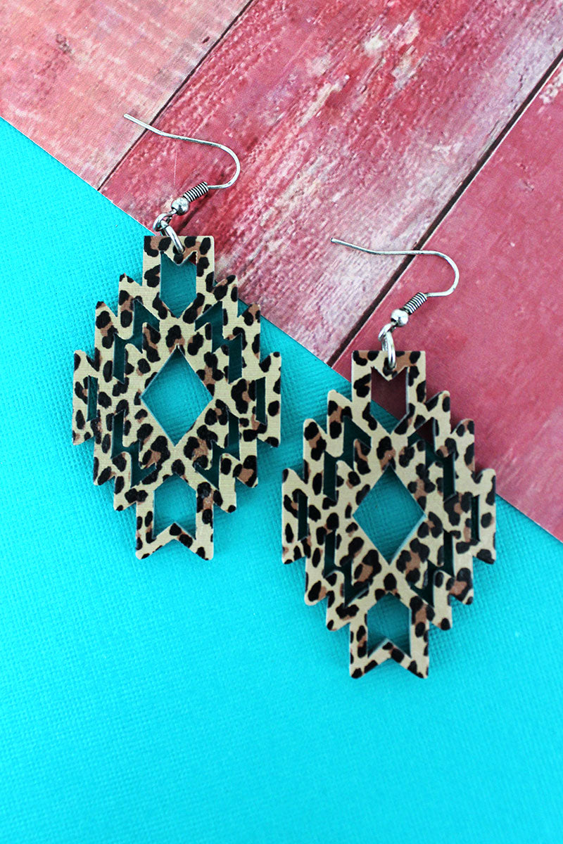 Leopard Southwestern Diamond Wood Earrings