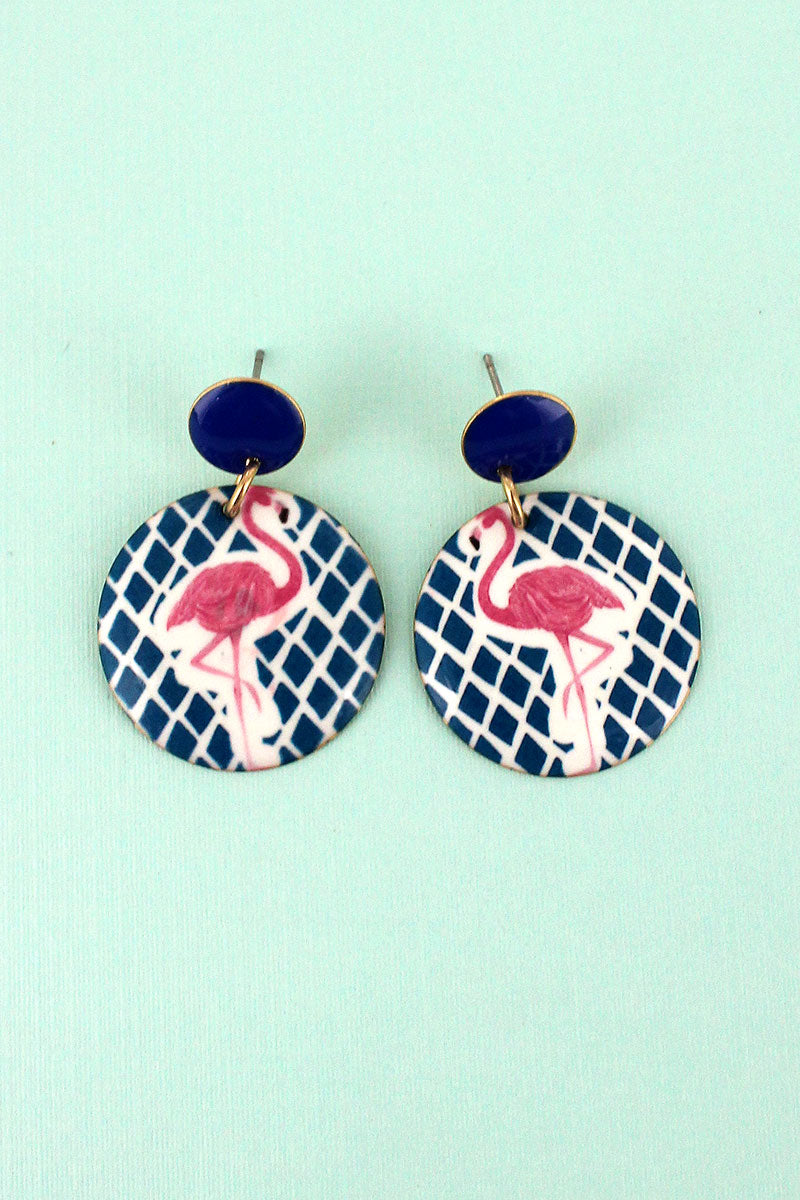 Flamingo Diamond Disk Earrings