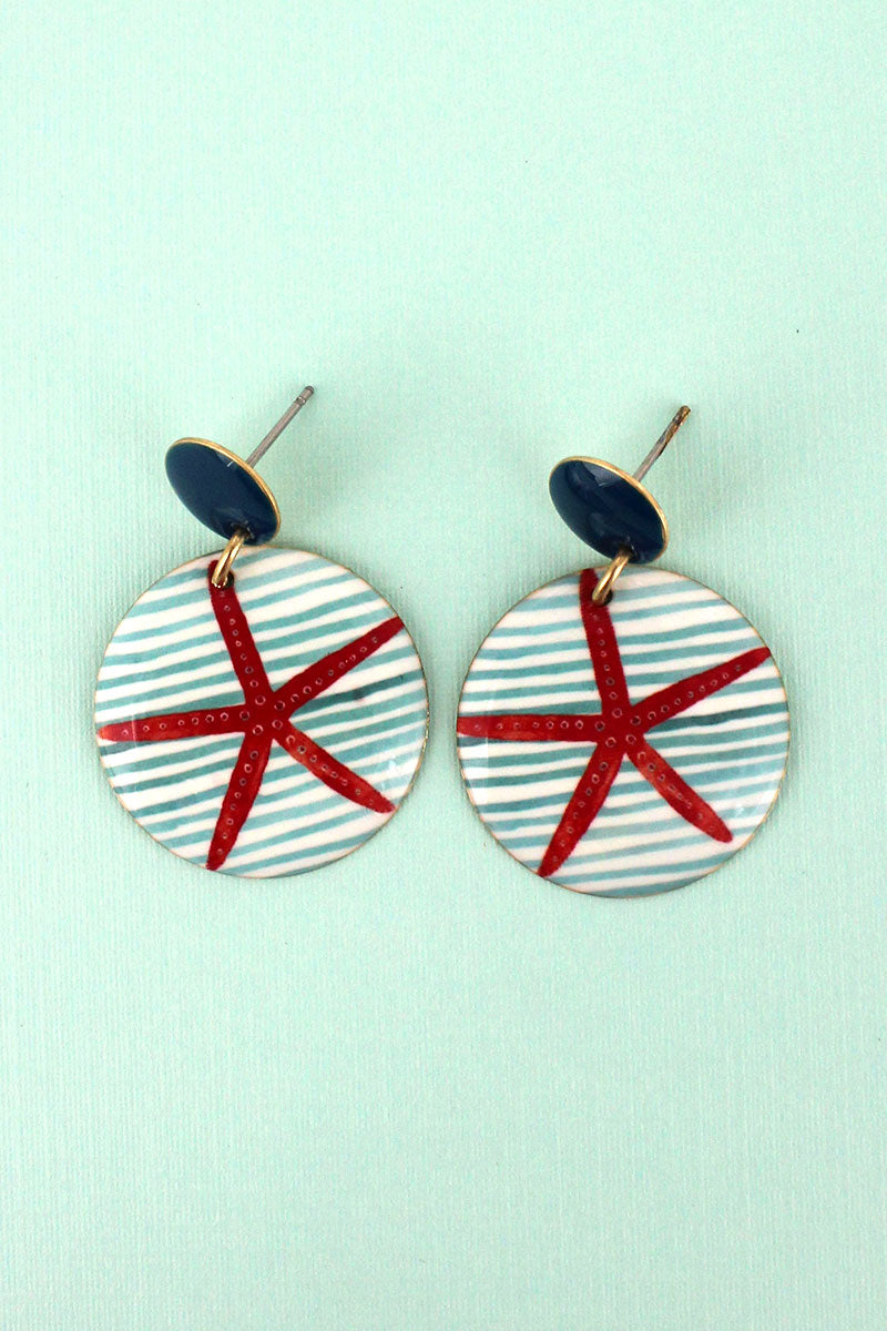 Starfish Stripe Disk Earrings