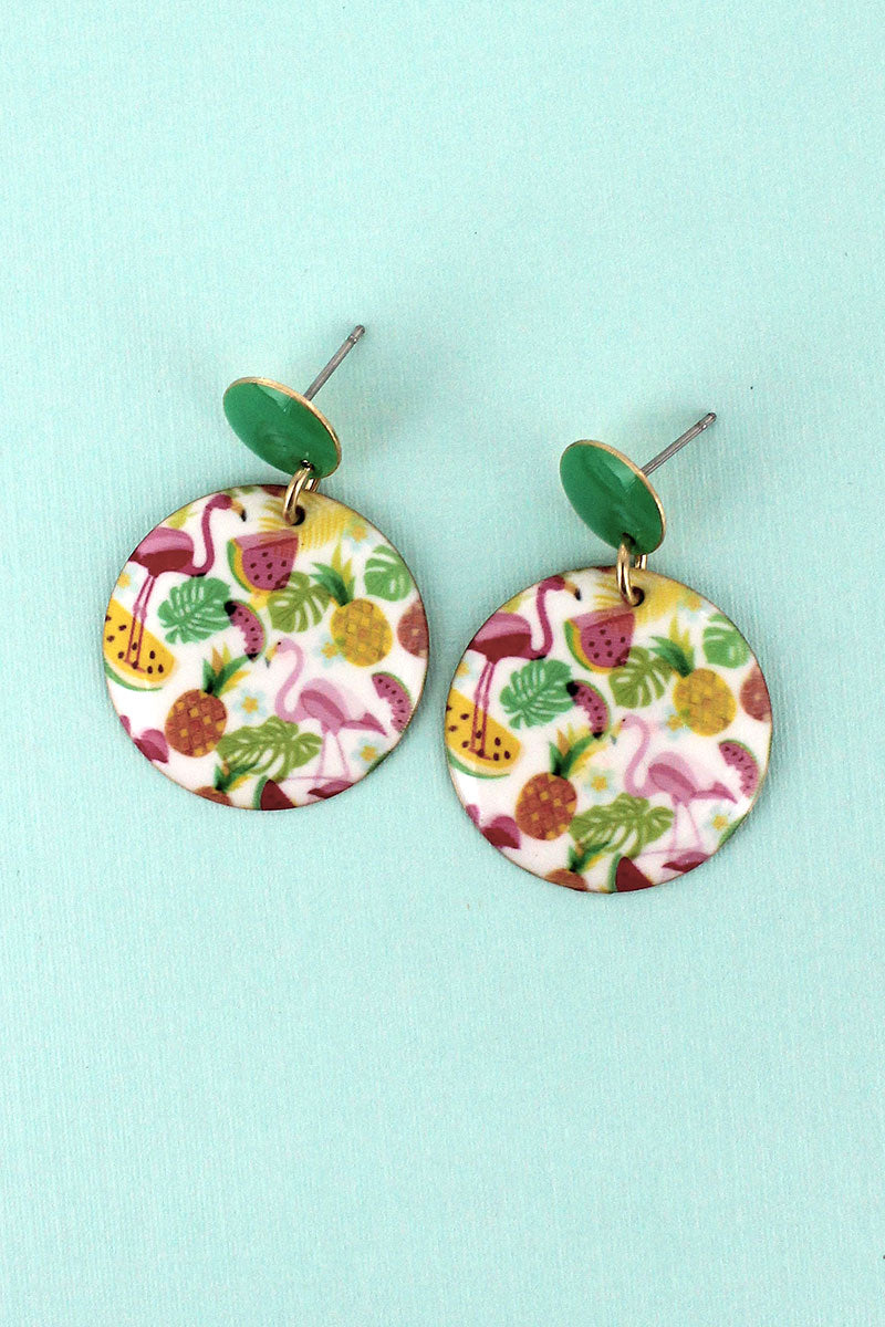 Flamingo Fruit Disk Earrings