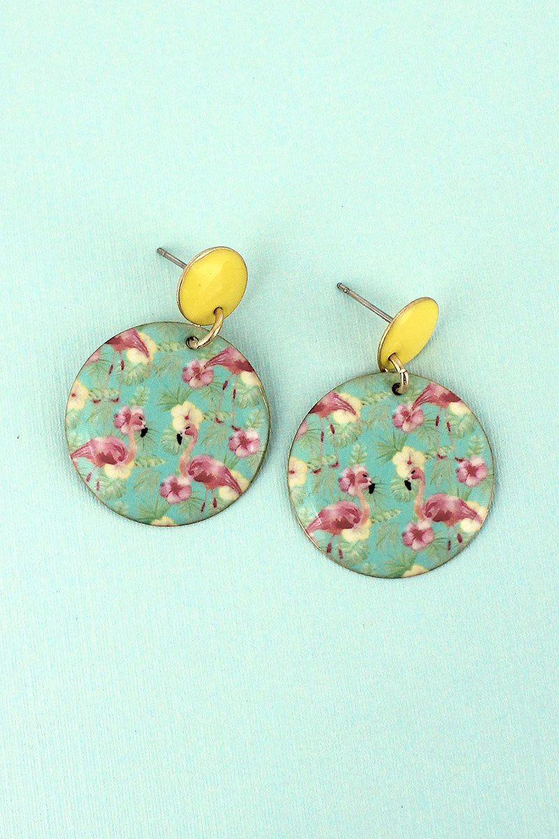 Flamingo Hibiscus Disk Earrings