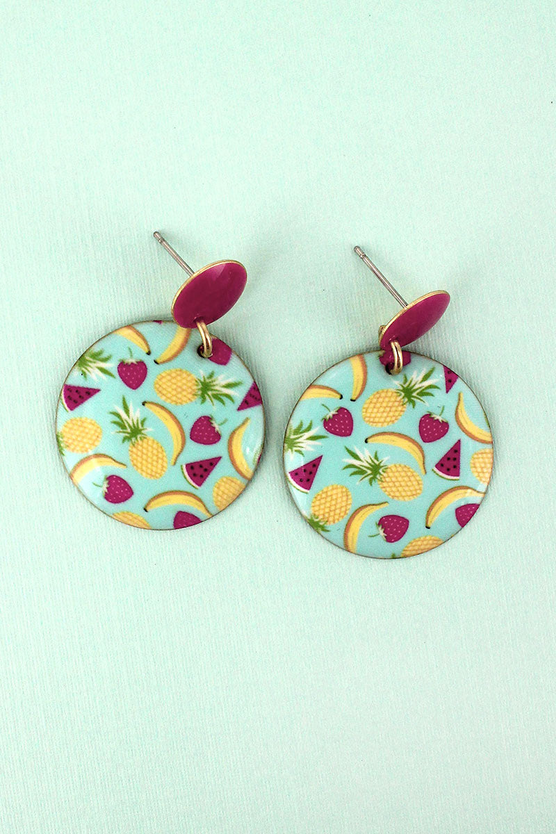 Summer Fruits Disk Earrings