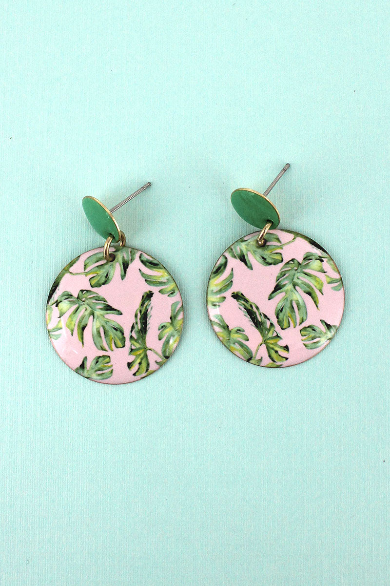 Banana Leaf Disk Earrings