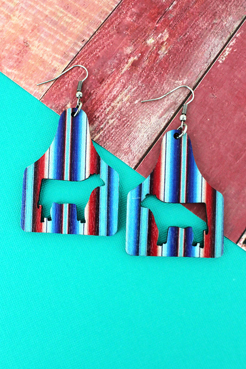 Serape Stripe Cattle Tag Wood Earrings