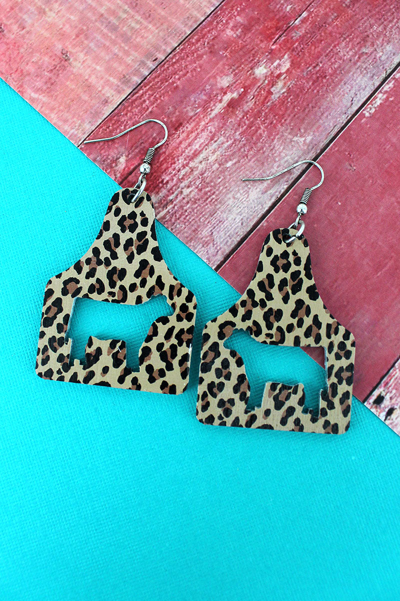 Leopard Cattle Tag Wood Earrings