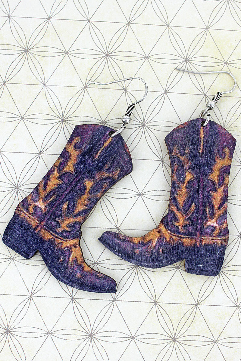 Tucson Cowgirl Boots Wood Earrings