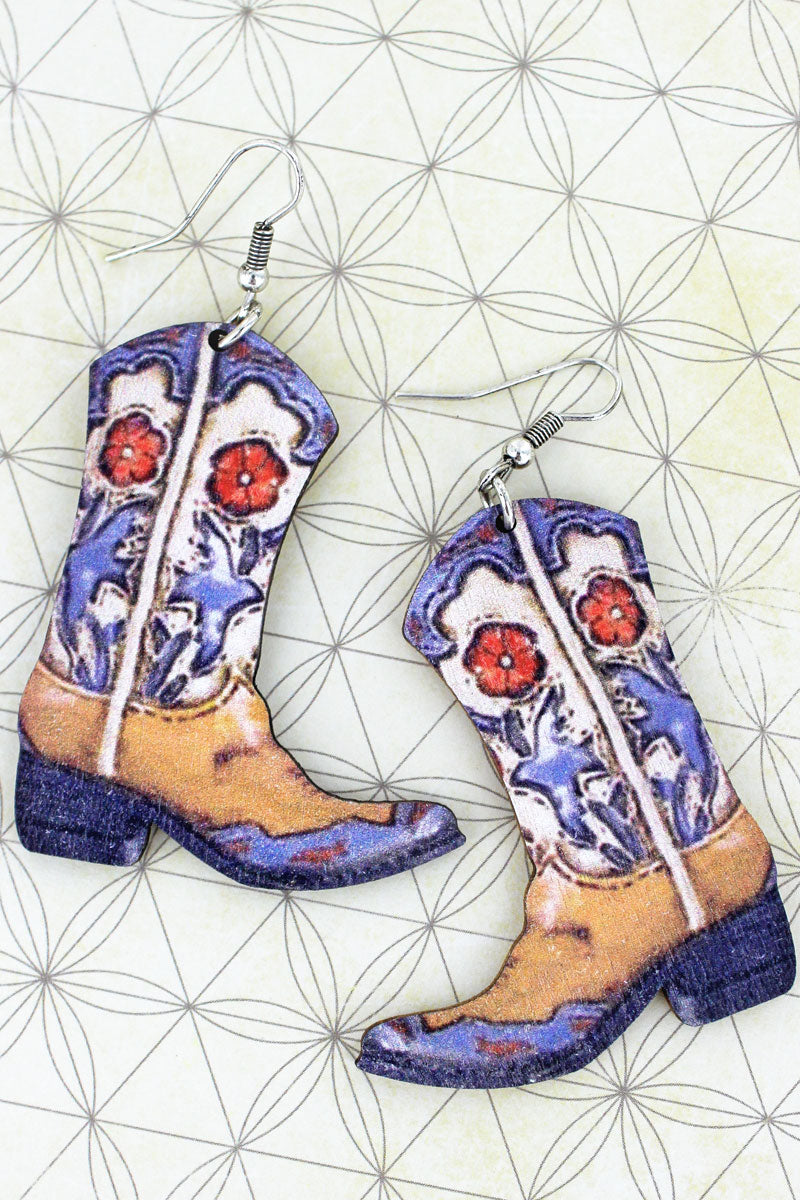 Elko Cowgirl Boots Wood Earrings