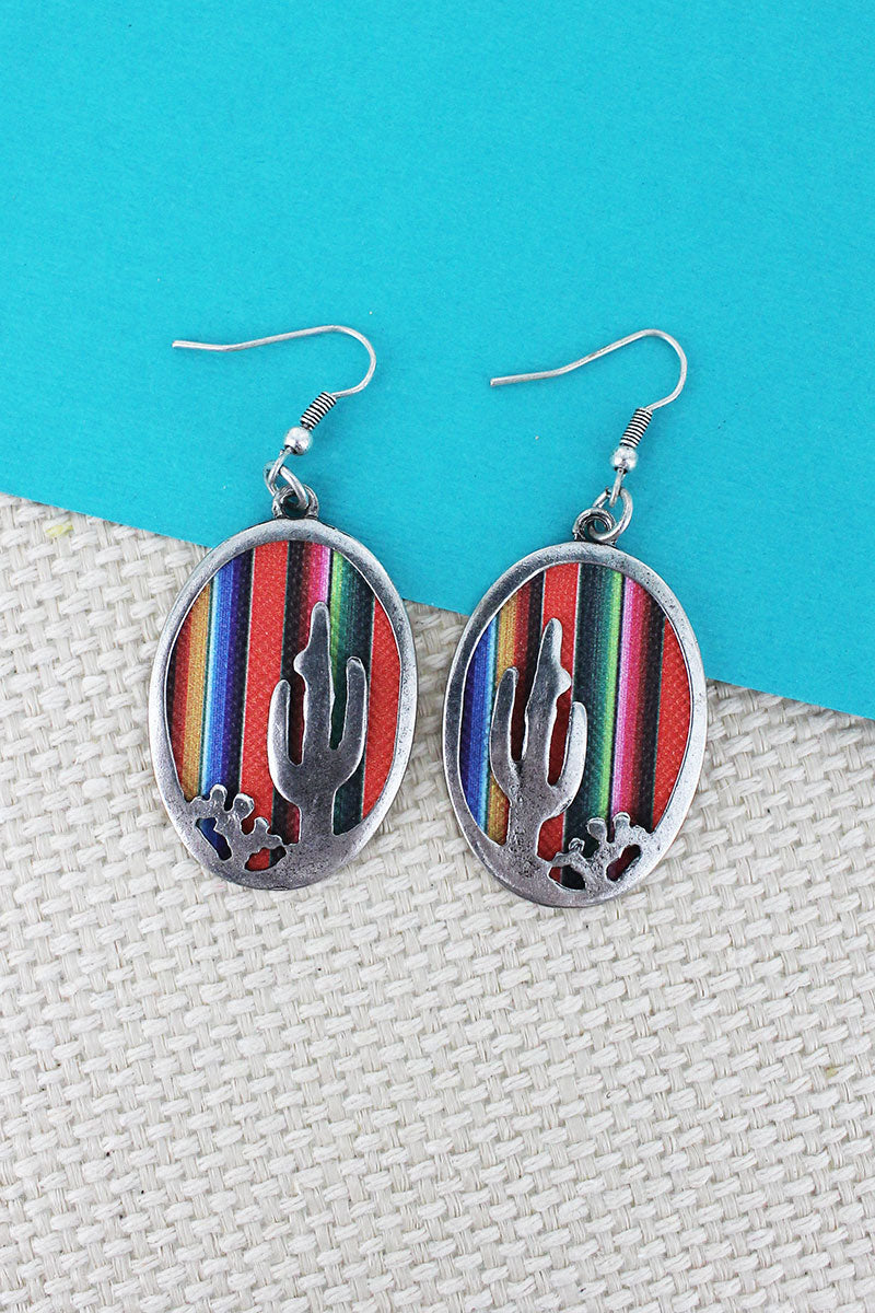 Serape and Silvertone Desert Cactus Oval Earrings
