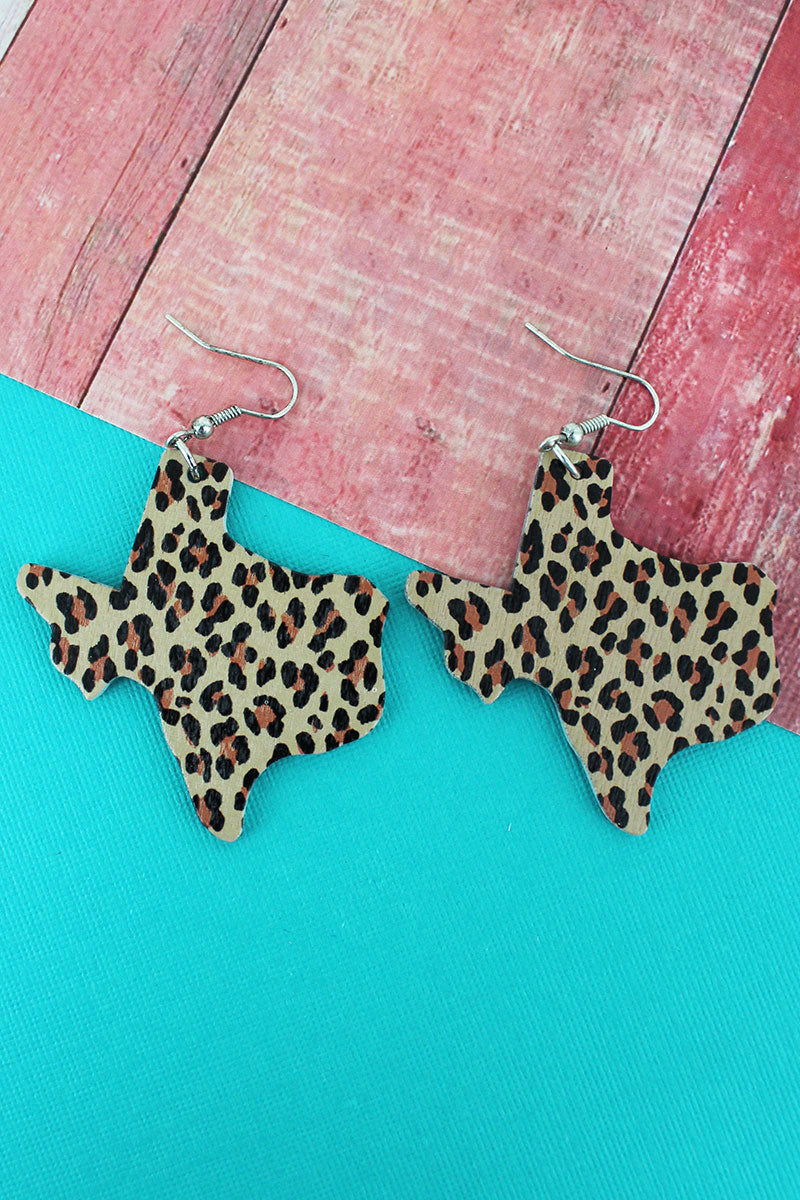 Leopard Texas Wood Earrings
