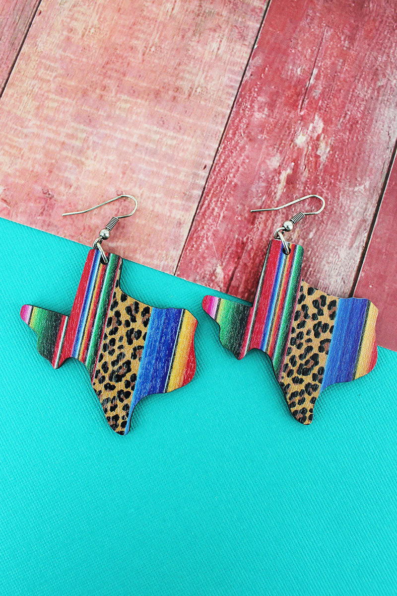 Wild Serape Texas Wood Earrings