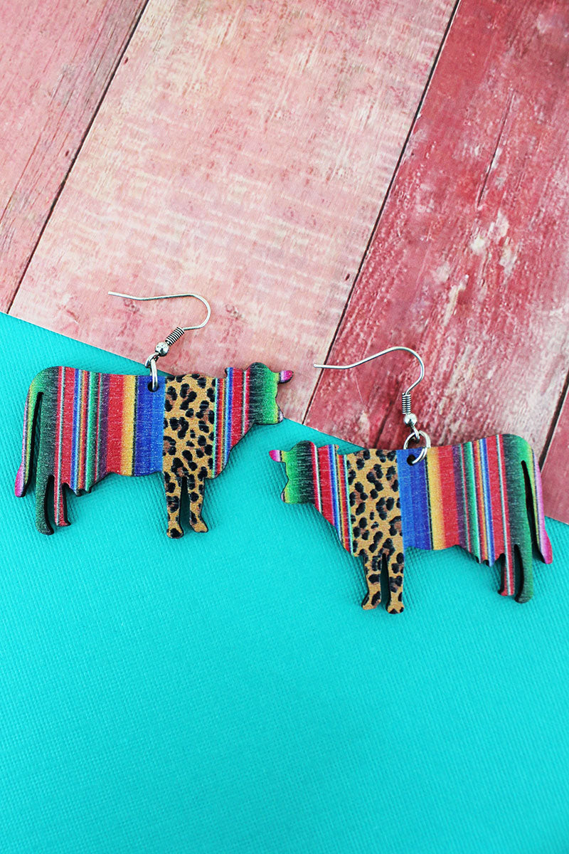 Wild Serape Cow Wood Earrings