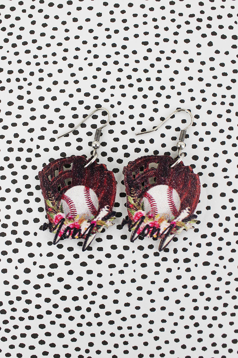 Baseball Mom Wood Earrings