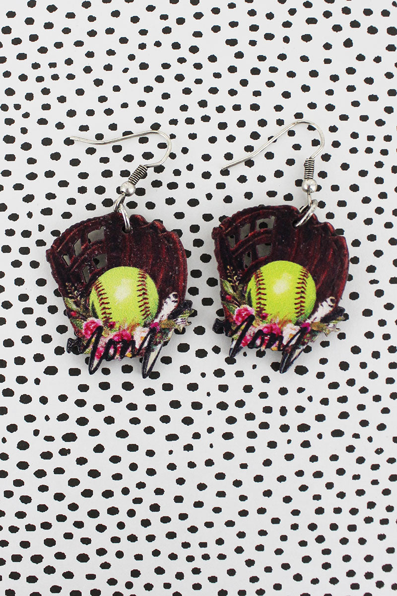 Softball Mom Wood Earrings