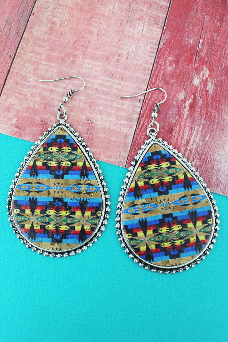 Silvertone Beaded Edge Sierra Sky Cork Teardrop Earrings