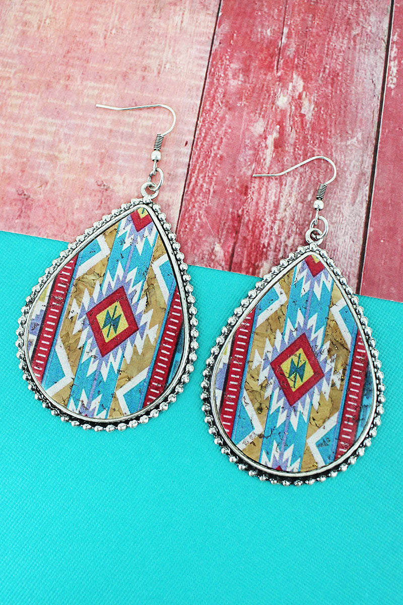 Silvertone Beaded Edge Mesa Memories Cork Teardrop Earrings