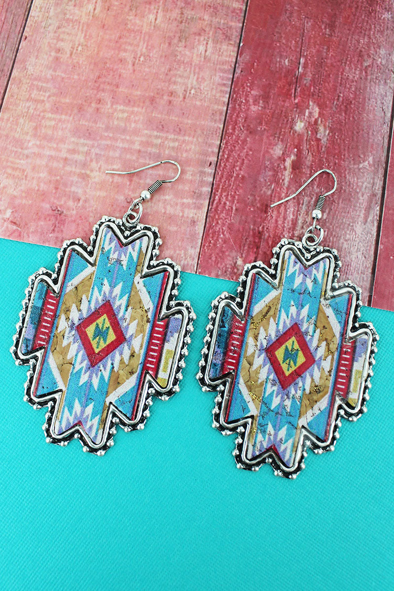 Silvertone Beaded Edge Mesa Memories Cork Earrings