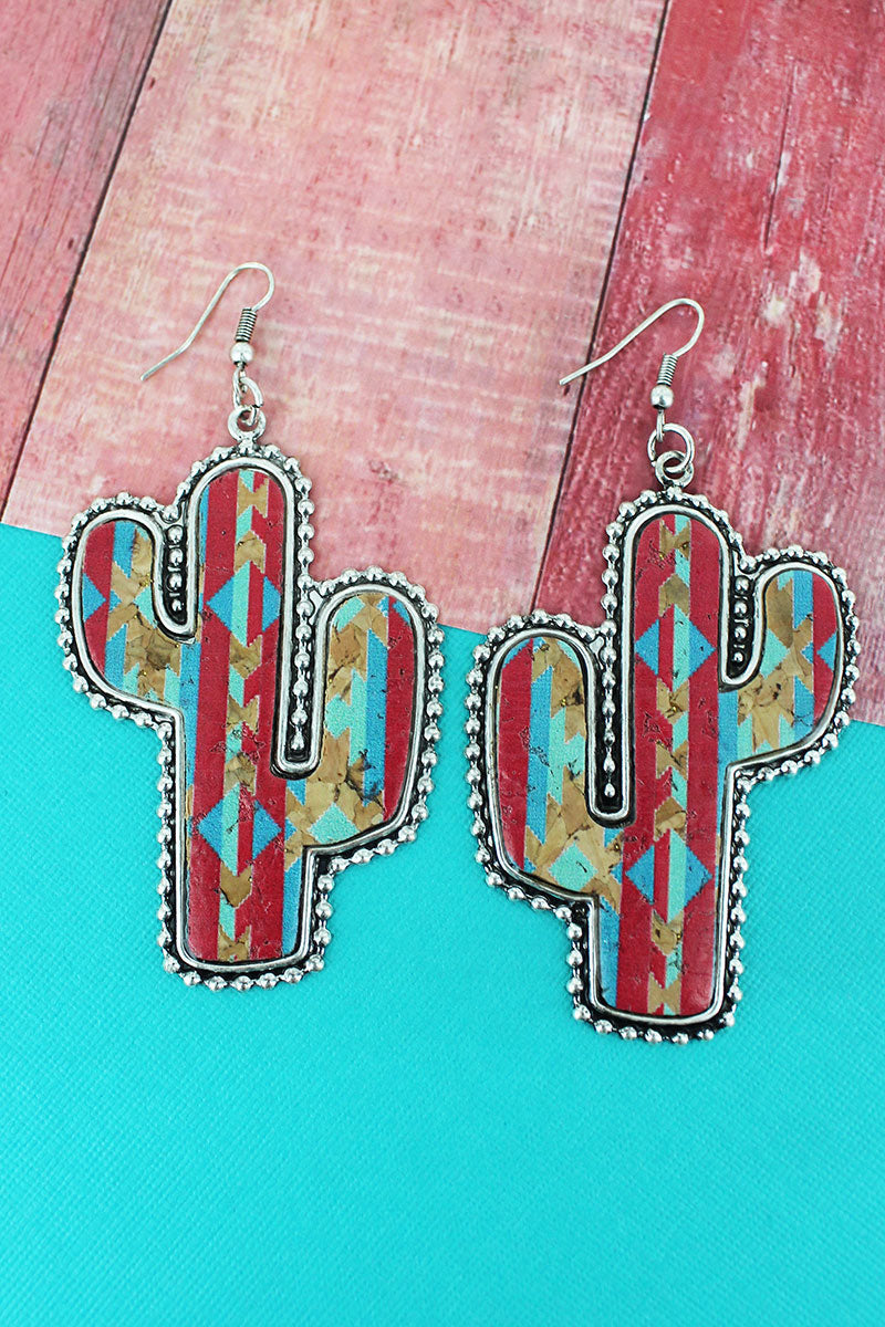 Silvertone Beaded Edge Desert Horizon Cork Cactus Earrings