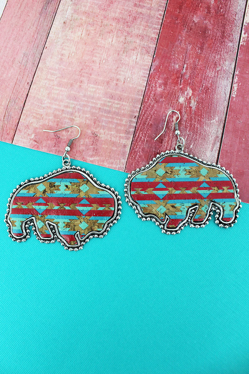 Silvertone Beaded Edge Desert Horizon Cork Buffalo Earrings