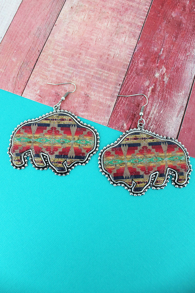 Silvertone Beaded Edge Sedona Sun Cork Buffalo Earrings