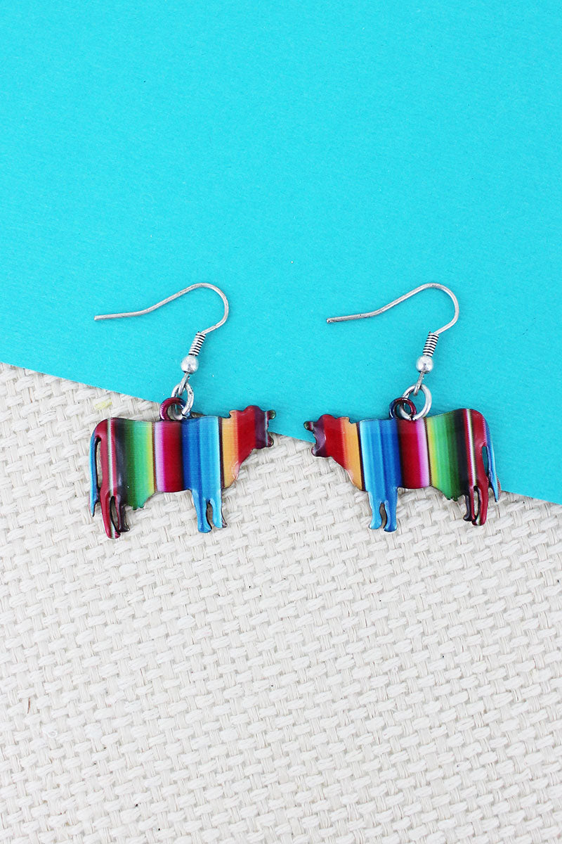 Serape Cow Silvertone Earrings