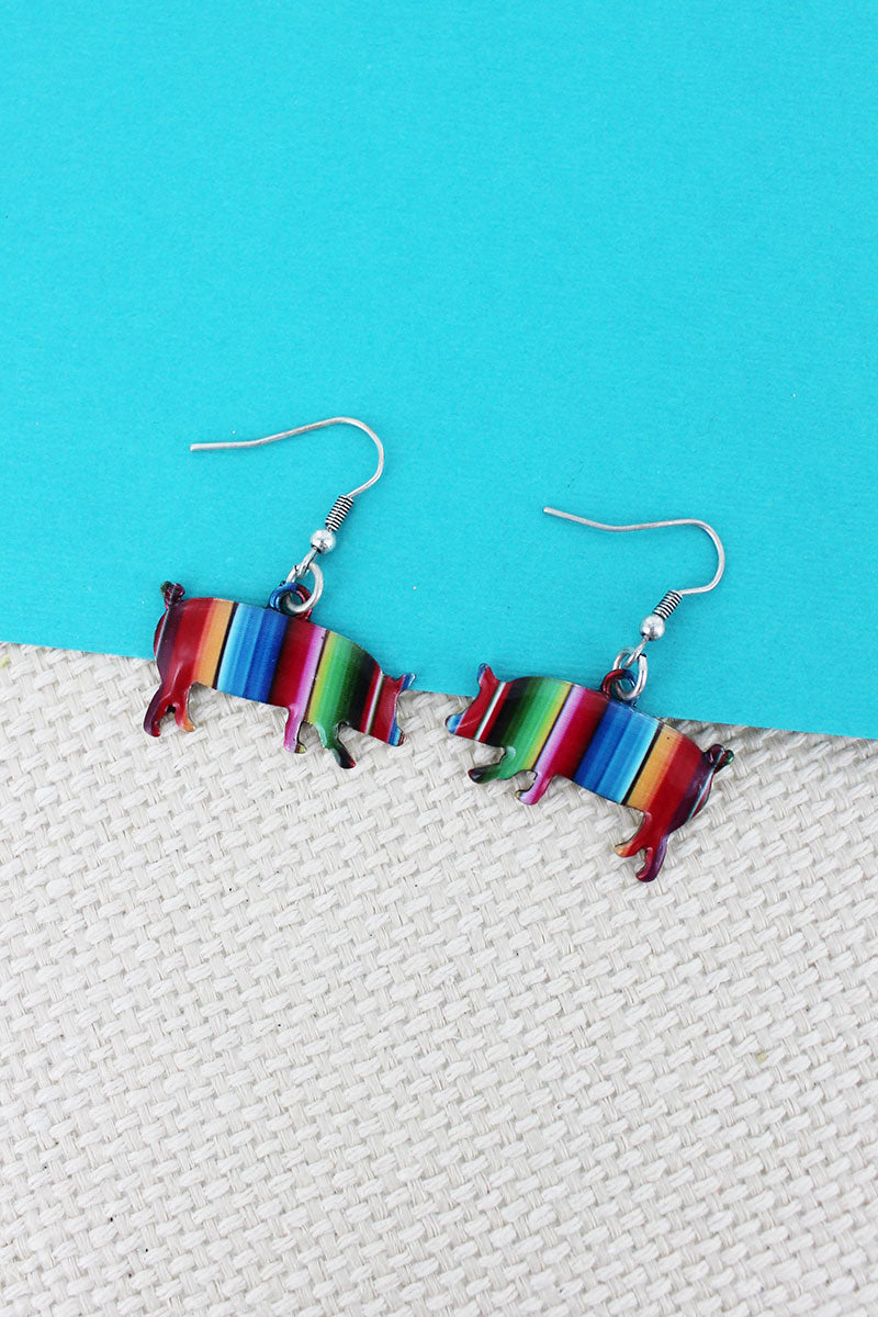 Serape Pig Silvertone Earrings