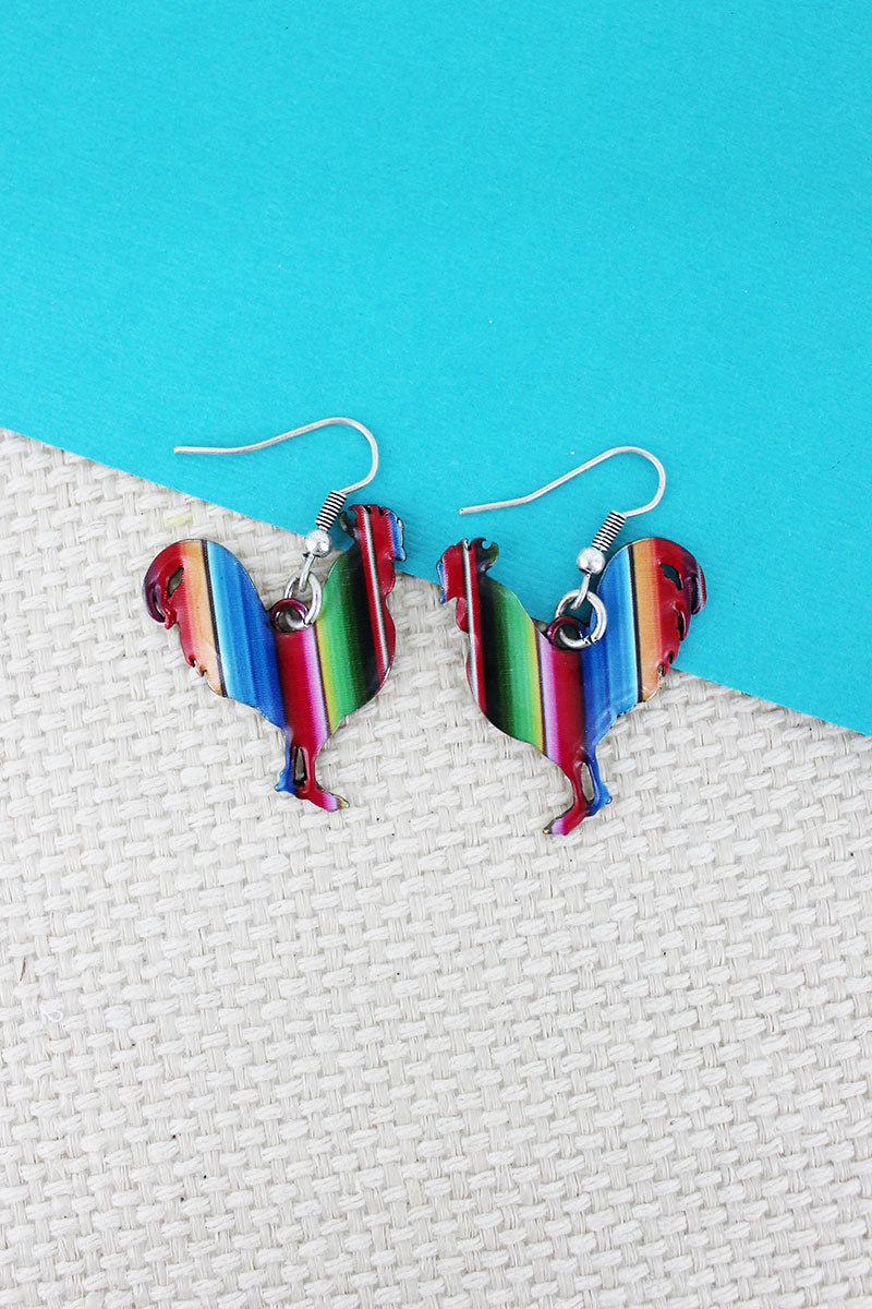 Serape Rooster Silvertone Earrings