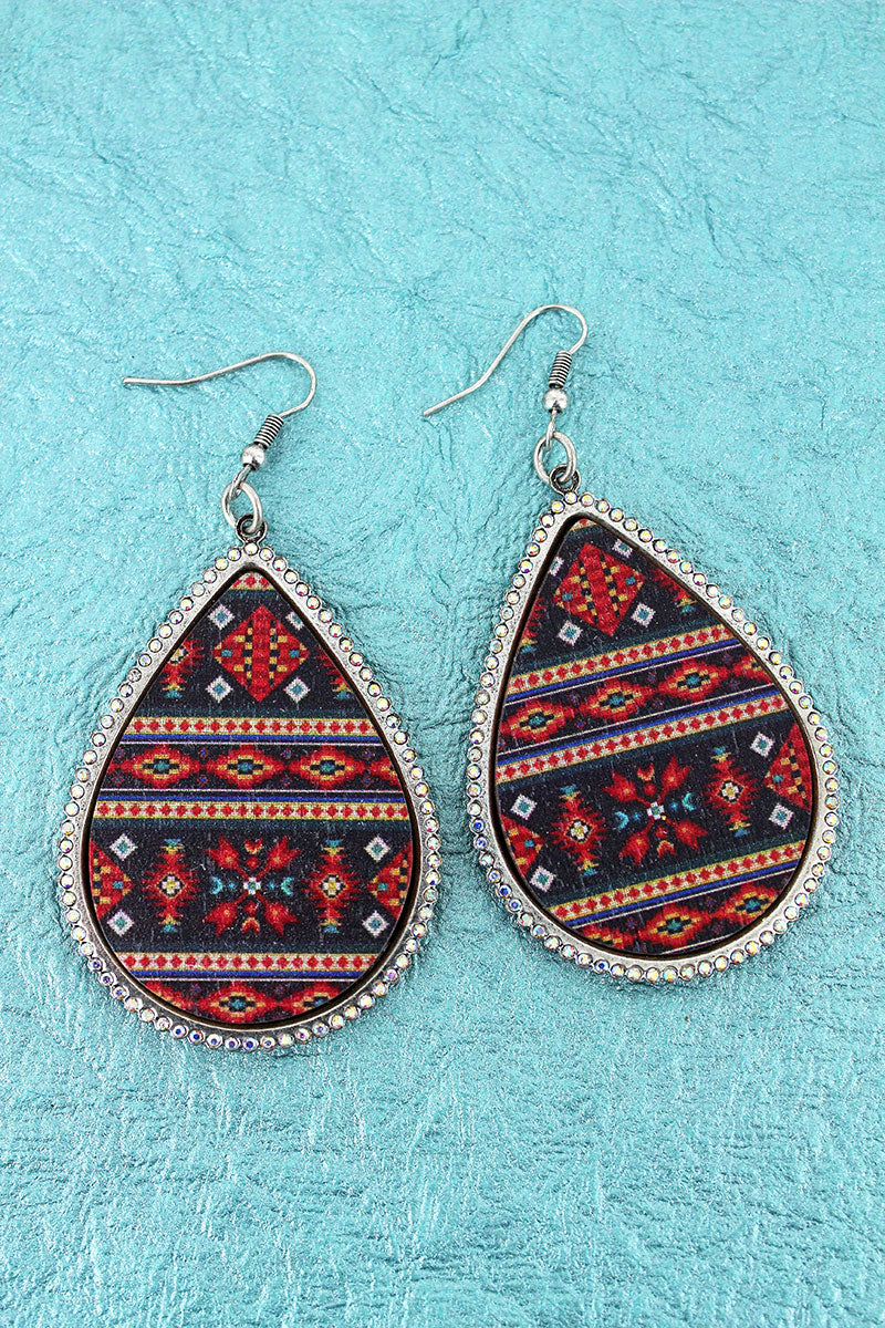 Crystal Trimmed Black Arizona Sky Teardrop Earrings