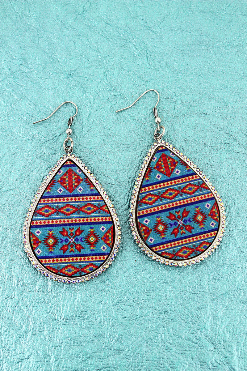 Crystal Trimmed Blue Arizona Sky Teardrop Earrings