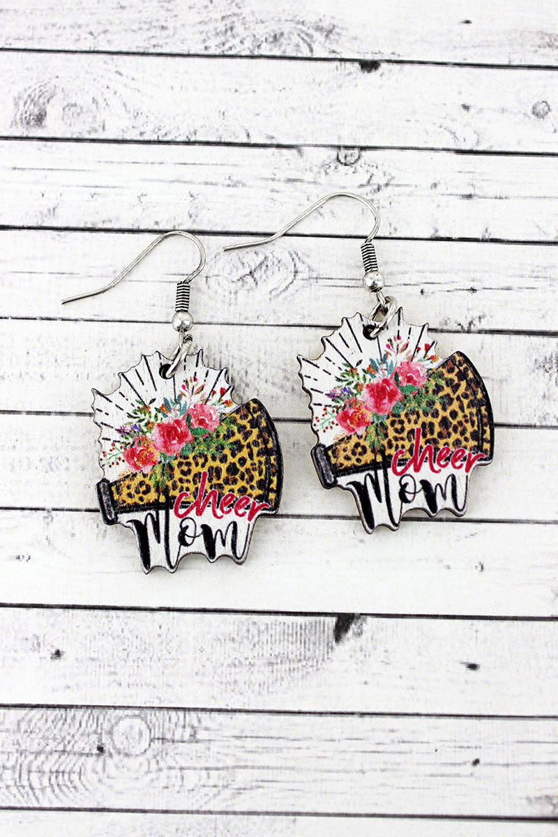 Cheer Mom Wood Earrings